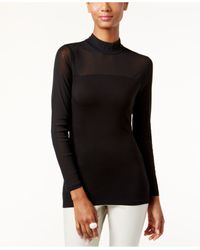 INC International Concepts | Black Mock-turtleneck Illusion Top, Only At Macy's | Lyst