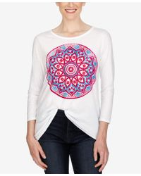 Lucky Brand | White Three-quarter-sleeve Graphic T-shirt | Lyst
