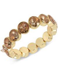 Betsey Johnson | Metallic Gold-tone Patina Stone Stretch Bracelet | Lyst