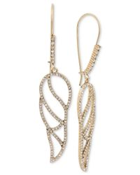 Betsey Johnson | Metallic Gold-tone Crystal Pavé Openwork Wing Drop Earrings | Lyst