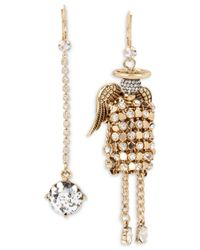Betsey Johnson | Metallic Gold-tone Crystal Drop And Angel Mismatch Earrings | Lyst