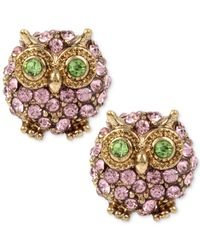 Betsey Johnson | Gold-tone Pink Pavé Owl Stud Earrings | Lyst