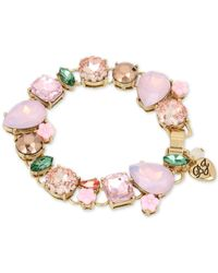 Betsey Johnson | Gold-tone Pink Stone And Crystal Stretch Bracelet | Lyst