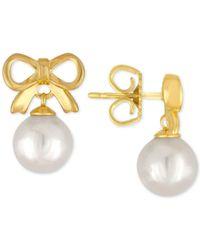 Majorica | White Gold-tone Imitation Pearl Bow Drop Earrings | Lyst