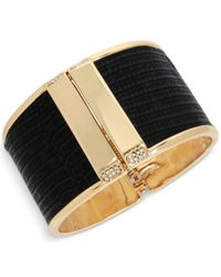 Kenneth Cole | Black Gold-tone Faux Leather Pave Hinged Bangle Bracelet | Lyst
