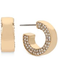 Kenneth Cole | Metallic Gold-tone Pave Huggy Hoop Earrings | Lyst