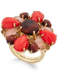 Kate Spade | Red Burst Into Bloom Gold-tone Stone Statement Ring | Lyst