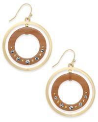kate spade new york | Metallic Out Of Her Shell Gold-tone Tortoiseshell-look Orbital Earrings | Lyst