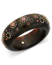 Kate Spade | Multicolor Out Of Her Shell Gold-tone Tortoiseshell-look Floral Bangle Bracelet | Lyst