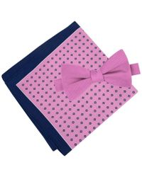 Tommy Hilfiger   Pink Men's Solid Pre-tied Bow Tie & Micro Neat Pocket Square Set for Men   Lyst