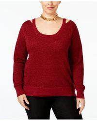 Michael Kors   Red Michael Plus Size Cold-shoulder Metallic Sweater   Lyst