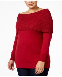 Michael Kors | Red Michael Plus Size Convertible Cowl-neck Sweater | Lyst