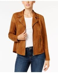 Style & Co. | Brown Petite Faux-suede Moto Jacket, Only At Macy's | Lyst