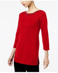 Cable & Gauge | Red Three-quarter-sleeve Grommet Sweater | Lyst