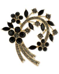 Anne Klein | Black Stone And Pave Arched Floral Pin, Only At Macy's | Lyst