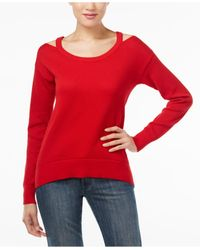 Michael Kors | Red Michael Cold-shoulder Sweater, A Macy's Exclusive Style | Lyst