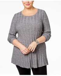 Style & Co. | Gray Plus Size Rib-knit Tunic Sweater, Only At Macy's | Lyst