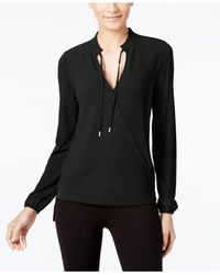 Michael Kors | Black Long-sleeve Faux-wrap Top | Lyst