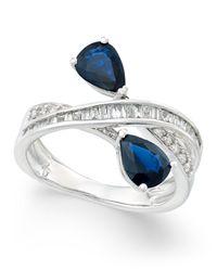 Macy's | Multicolor Sapphire (1-3/4 Ct. T.w.) And Diamond (3/8 Ct. T.w.) Crisscross Teardrop Ring In 14k White Gold | Lyst