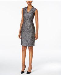 Kasper | Gray Foil-swirl-print Jacquard Sheath Dress | Lyst