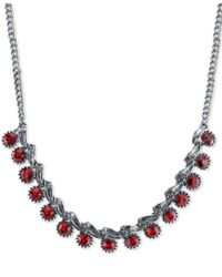 2028 - Metallic Silver-tone Red Crystal Collar Necklace - Lyst