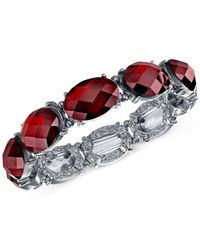 2028 - Metallic Silver-tone Red Faceted Stone Stretch Bracelet - Lyst
