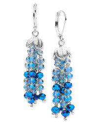 Lonna & Lilly - Blue Beaded Tassel Shaky Drop Earrings - Lyst