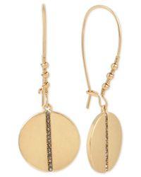 Kenneth Cole   Black Gold-tone Pave Row Disc Drop Earrings   Lyst