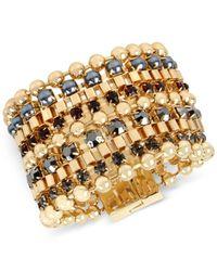 Kenneth Cole - Metallic Gold-tone Imitation Pearl And Stone Multi-row Bracelet - Lyst