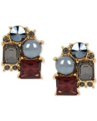 Kenneth Cole | Metallic Gold-tone Imitation Pearl And Stone Cluster Stud Earrings | Lyst