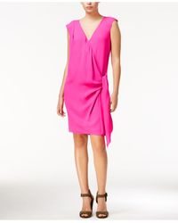 RACHEL Rachel Roy - Pink Draped Faux-wrap Dress - Lyst