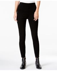 Maison Jules   Black Flocked Houndstooth Pull-on Pants, Only At Macy's   Lyst