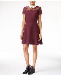 Maison Jules   Purple Lace-trim A-line Dress, Only At Macy's   Lyst