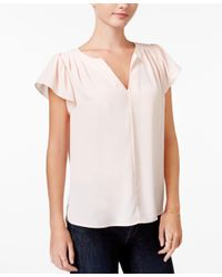 Maison Jules | White Flutter-sleeve Top, Only At Macy's | Lyst
