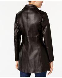 Anne Klein - Black Petite Leather Coat - Lyst