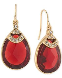 Carolee | Metallic Gold-tone Teardrop Burgundy Stone And Pavé Drop Earrings | Lyst