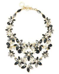 Anne Klein | Multicolor Gold-tone Stone And Crystal Floral Statement Necklace | Lyst