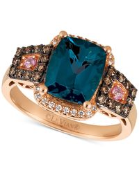 Le Vian - Multicolor Blue Topaz (3 Ct. T.w.), Diamond (3/8 Ct. T.w.) And Pink Sapphire Accent Ring In 14k Rose Gold - Lyst
