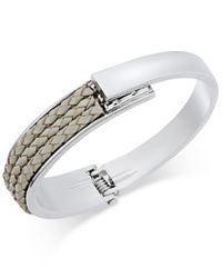 INC International Concepts | Gray Gold-tone Mixed-media Bangle Bracelet, Only At Macy's | Lyst