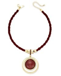INC International Concepts   Multicolor Silver-tone Faux-suede Pendant Necklace, Only At Macy's   Lyst