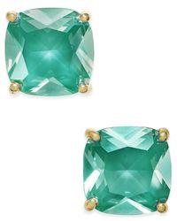 kate spade new york | Green Gold-tone Aqua Crystal Stud Earrings | Lyst