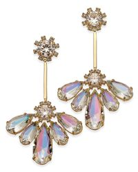 kate spade new york | Metallic Gold-tone Irridescent Crystal Drop Earrings | Lyst