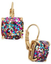 Kate Spade | Metallic Gold-tone Glitter Drop Earrings | Lyst