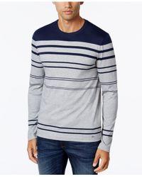 Michael Kors | Blue Men's Striped Crew-neck Sweater for Men | Lyst