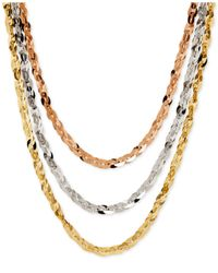 Macy's | Metallic Tri-tone Three Row Necklace In 14k Rose, White And Yellow Gold | Lyst