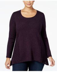 Style & Co. | Blue Plus Size Pointelle Sweater, Only At Macy's | Lyst