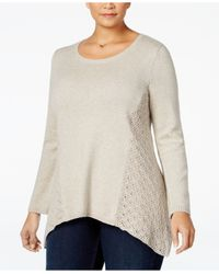 Style & Co. | Natural Plus Size Pointelle Sweater, Only At Macy's | Lyst