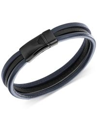 Armani Exchange - Multicolor Emporio Armani Men's Gunmetal Steel Navy And Black Leather Bracelet Egs2215 for Men - Lyst