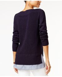 Tommy Hilfiger Blue Long-sleeve Contrast Sweater