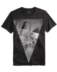 Guess - Black Men's Two-tone Graphic-print T-shirt for Men - Lyst